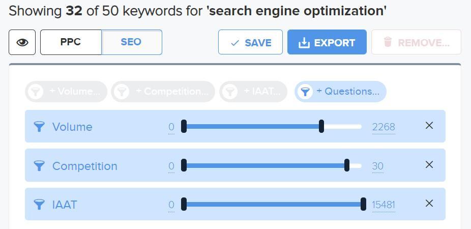 filter detail untuk mendapatkan keyword lebih spesifik di wordtracker