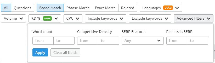filter spesifik SEMrush
