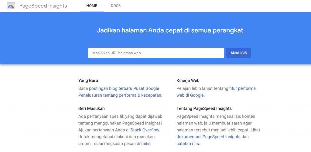 seo tool untuk mengecek kecepatan google pagespeed insight