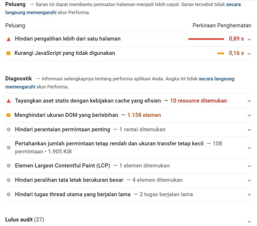 saran kecepatan google pagespeed insight