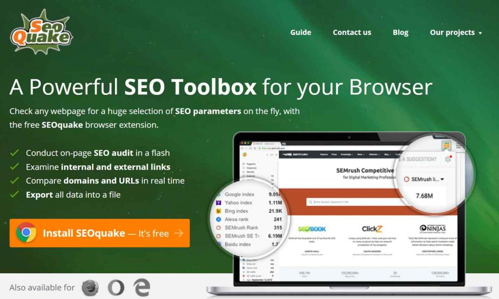 seo tool extension seoquake
