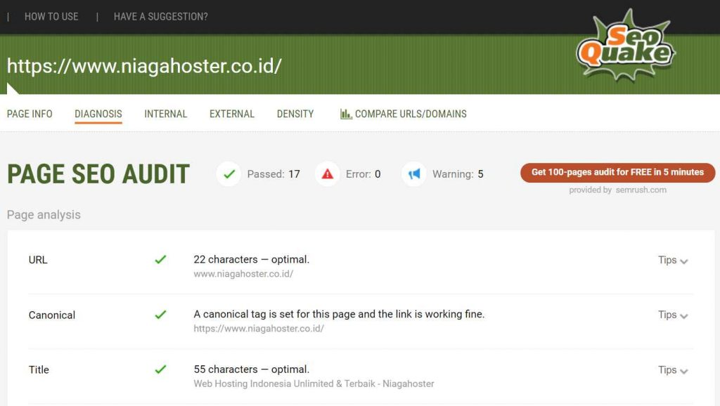 laporan seo on page seoquake
