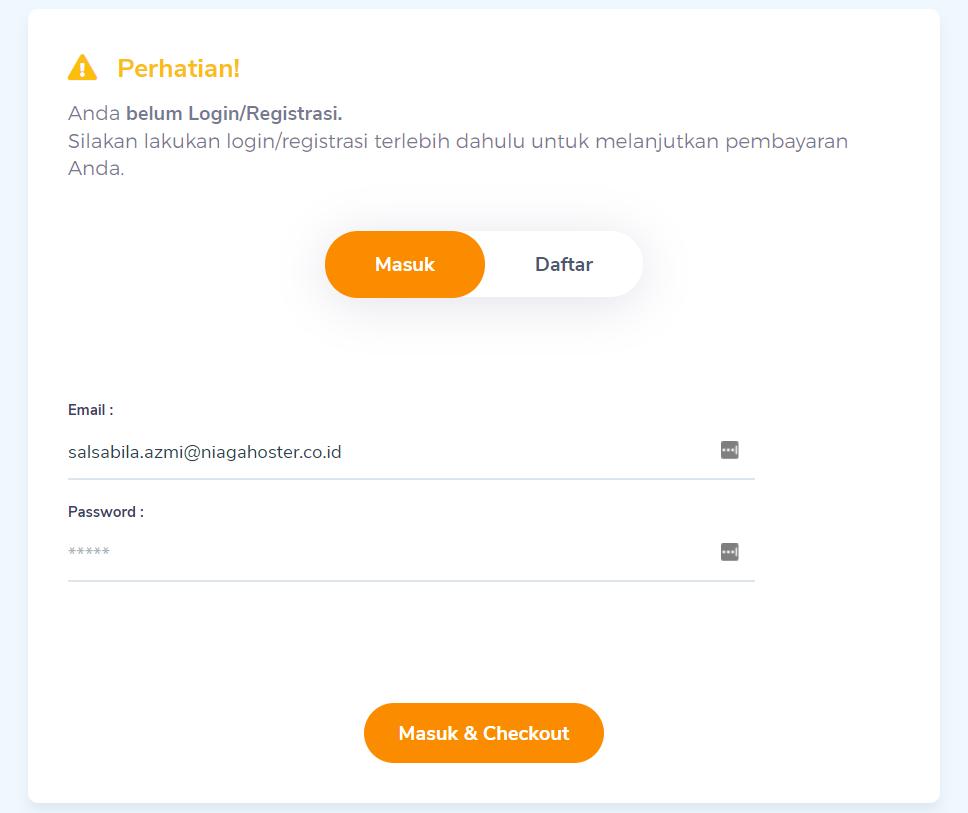 form registrasi email sebelum melakukan pembelian