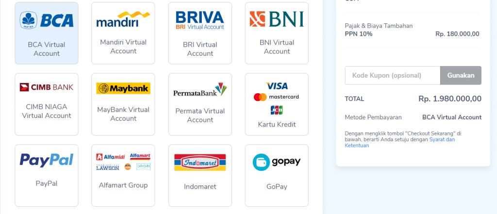 variasi payment gateway Niagahoster untuk sales funnel