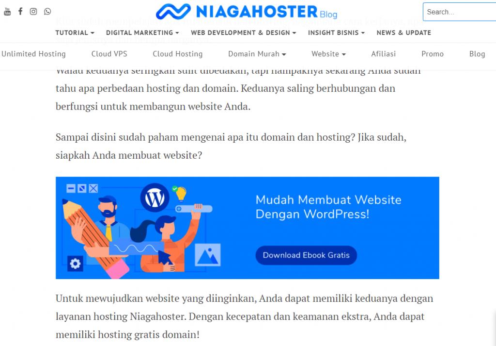 blog Niagahoster tentang hosting dan domain