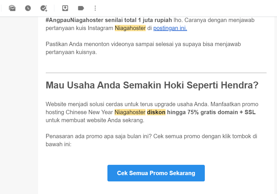 newsletter promo Niagahoster