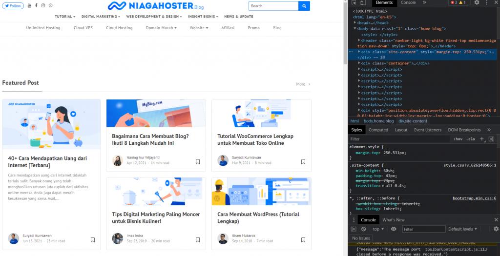 contoh inspect element pada blog Niagahoster