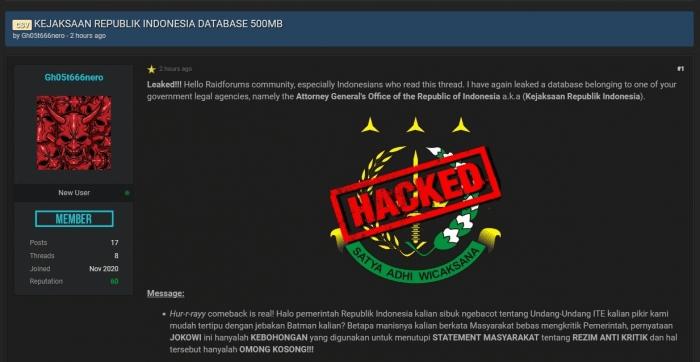 Database Kejagung RI tersandung kasus hacking
