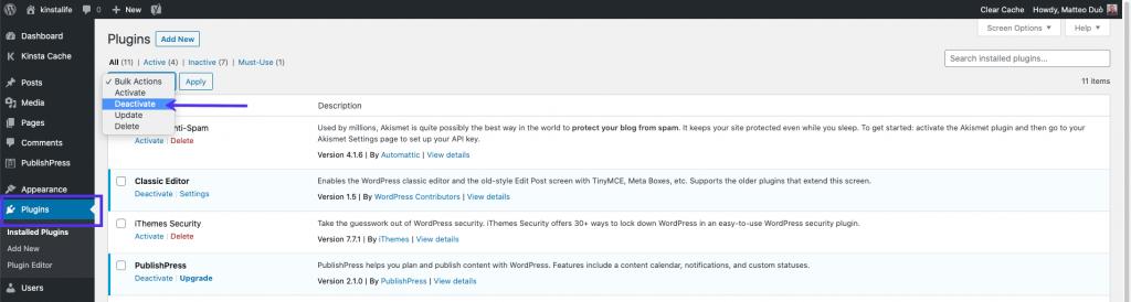 Menonaktifkan Plugin lewat Dashboard WordPress
