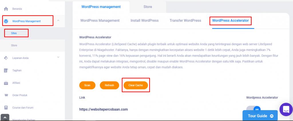 Menghapus Cache WordPress Lewat Member Area
