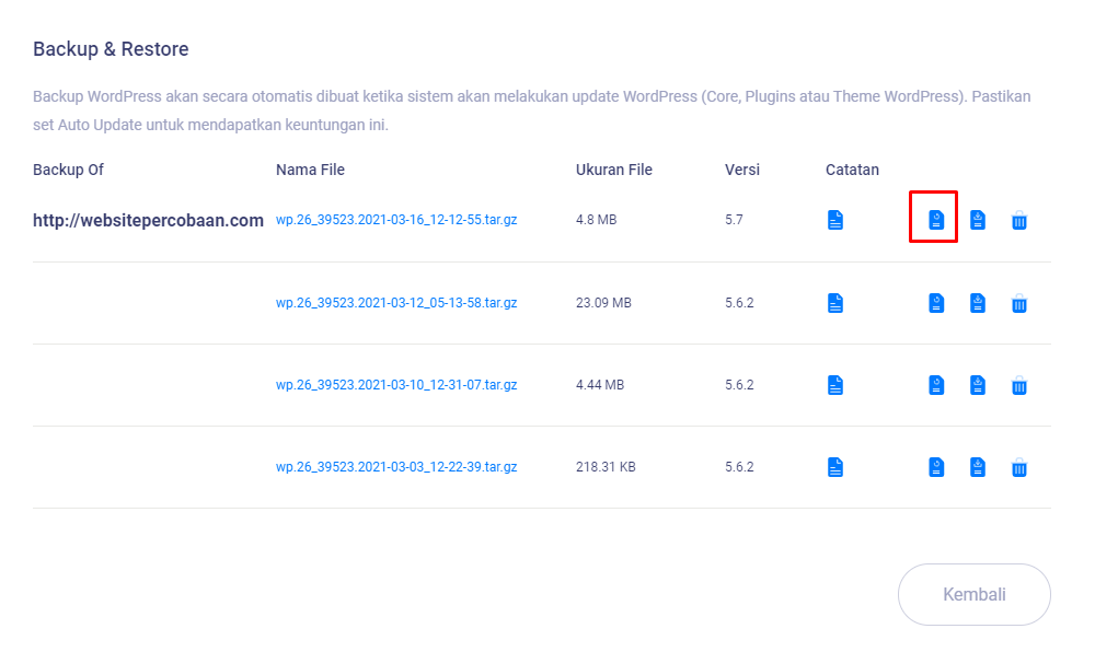 Restore File Backup di Member Area Niagahoster