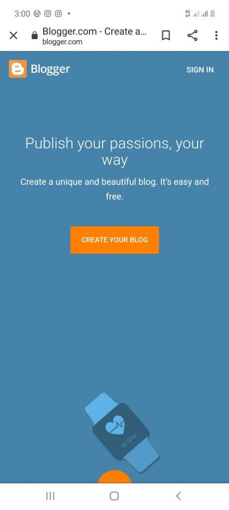 cara membuat blog di hp melalui blogspot