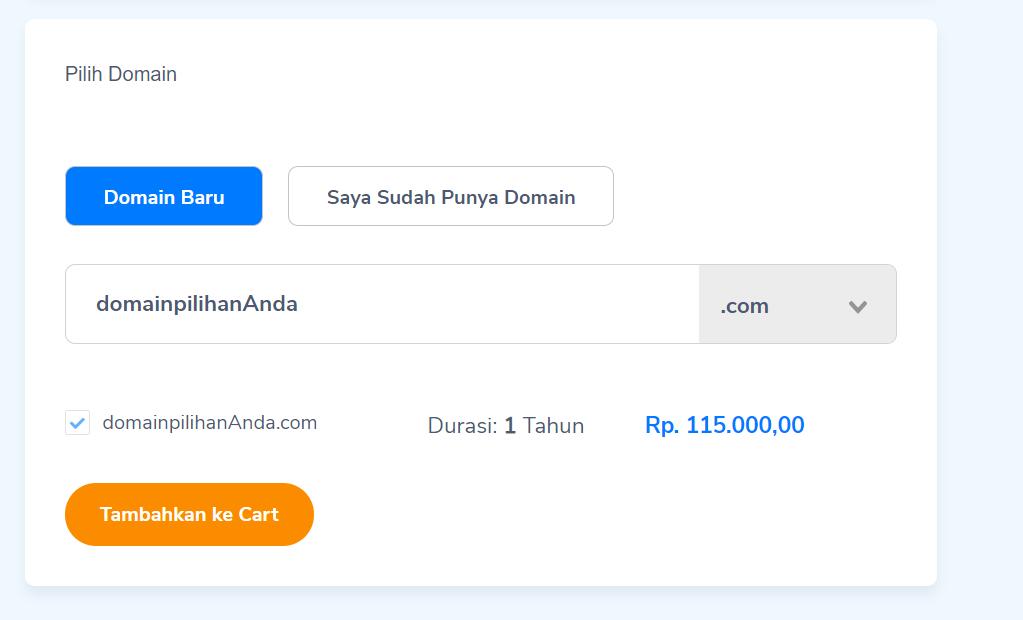 tambahkan hosting dan domain ke cart Niagahoster