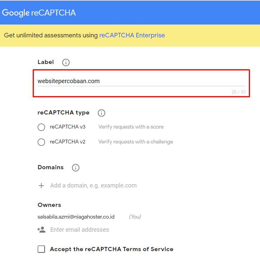 mendaftarkan domain untuk membuat captcha
