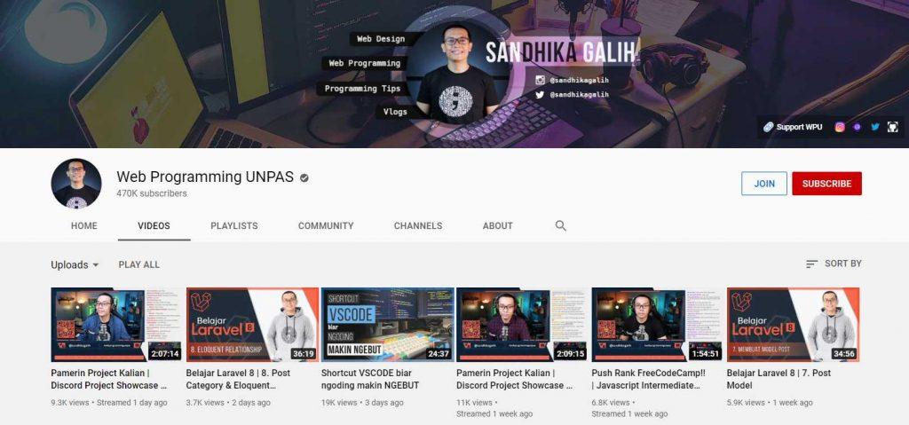 channel YouTube Web Programming UNPAS