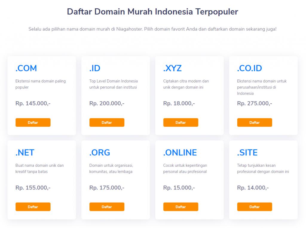 beragam pilihan domain dan ekstensi