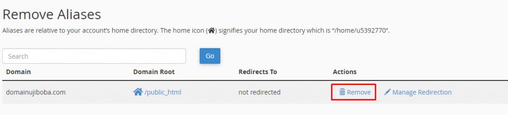 Remove Domain Alias