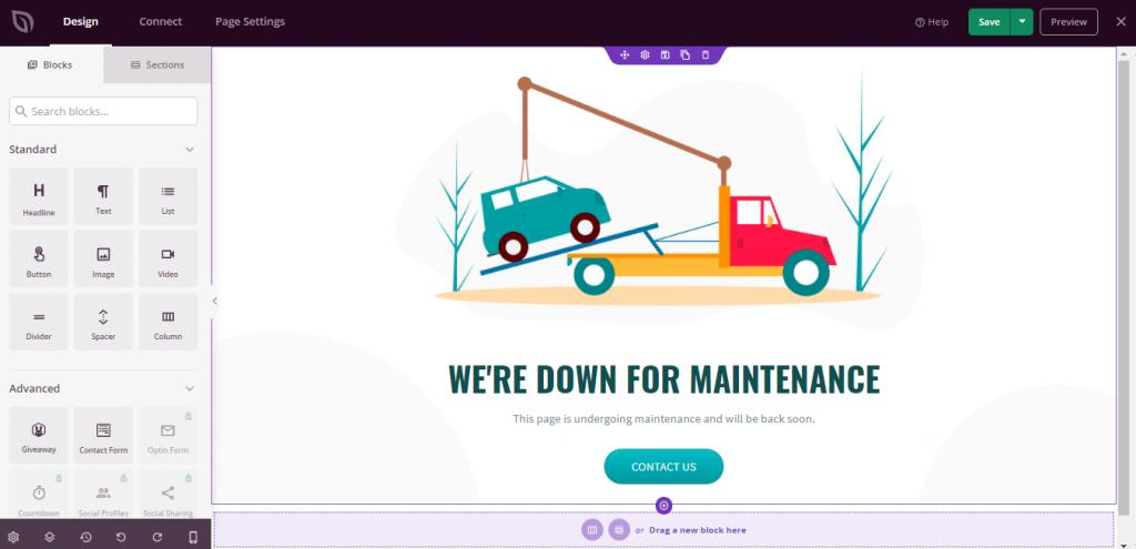 Menu Drag n Drop Maintenance Mode