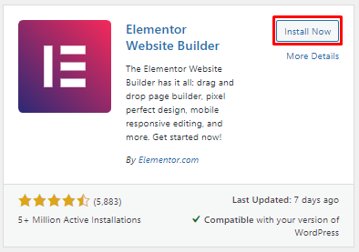 Install Page Builder Elementor
