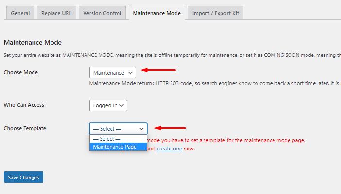 Publish Maintenance Mode di Elementor
