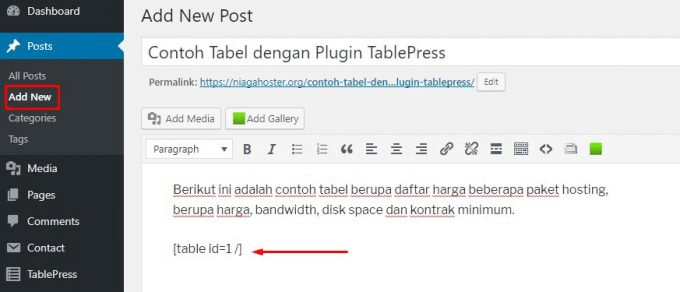 Paste Shortcode TablePress