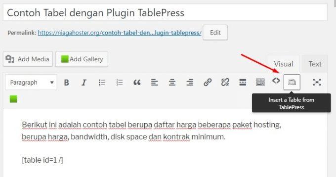 Import Tabel melalui TablePress