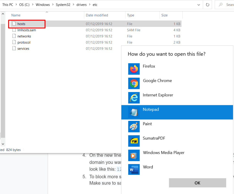 buka host file di notepad untuk menerapkan cara memblokir situs