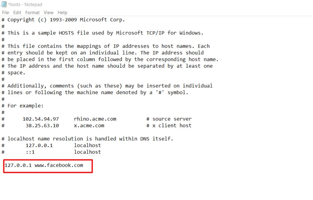 masukkan IP address dan alamat situs website yang ingin diblokir