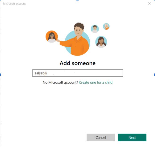 add account di parental control windows