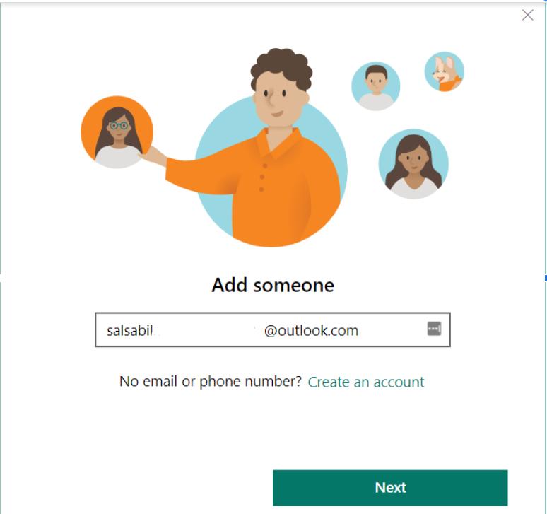 add akun email anggota keluarga