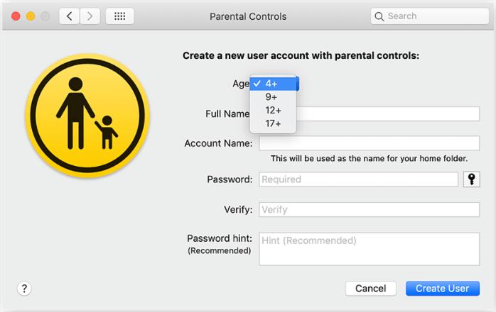 isi data parental control untuk membuat akun anggota keluarga