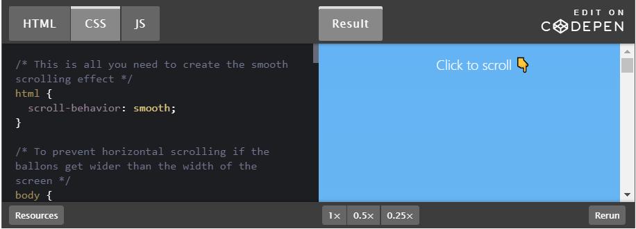 apa itu coding css untuk fitur scroll down