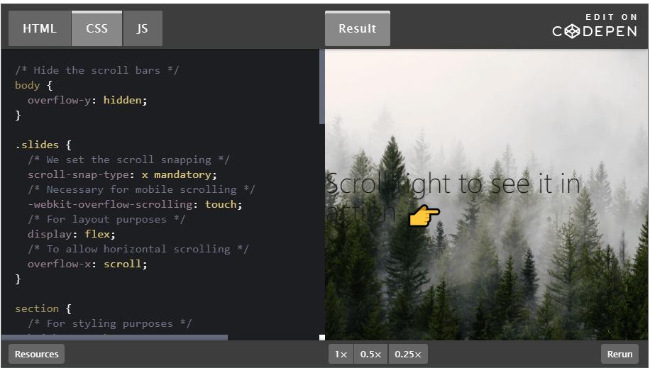 contoh coding css untuk fitur swipe right