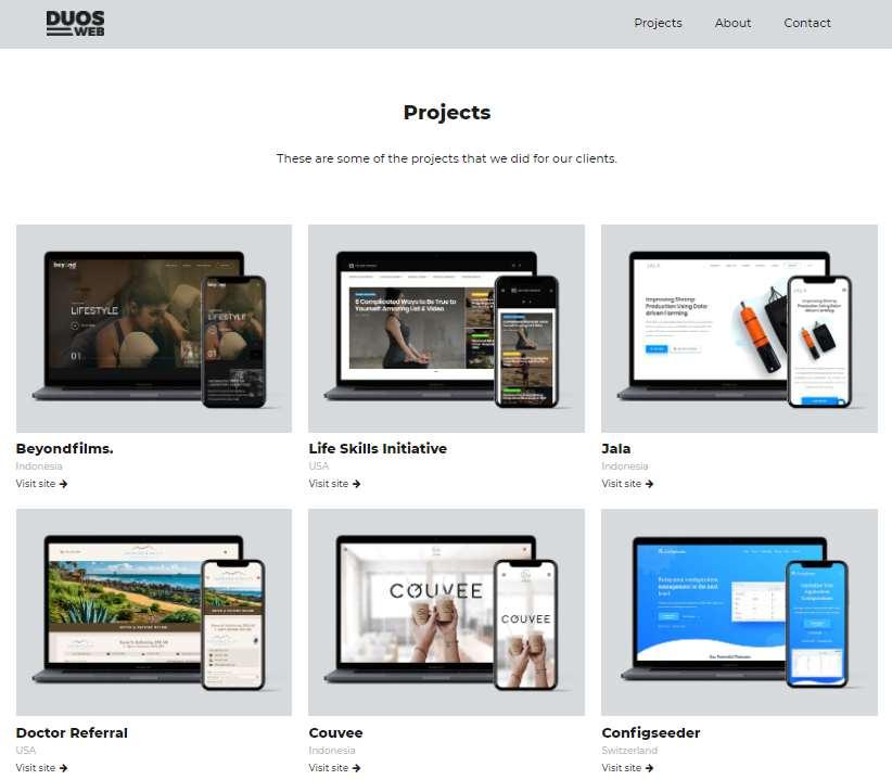 contoh project web designer duosweb