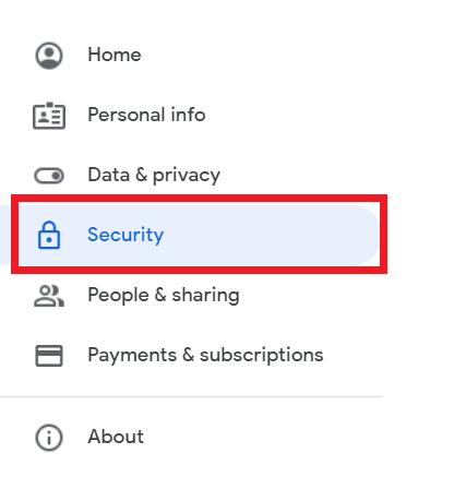 Pilih Menu Security di Akun Google