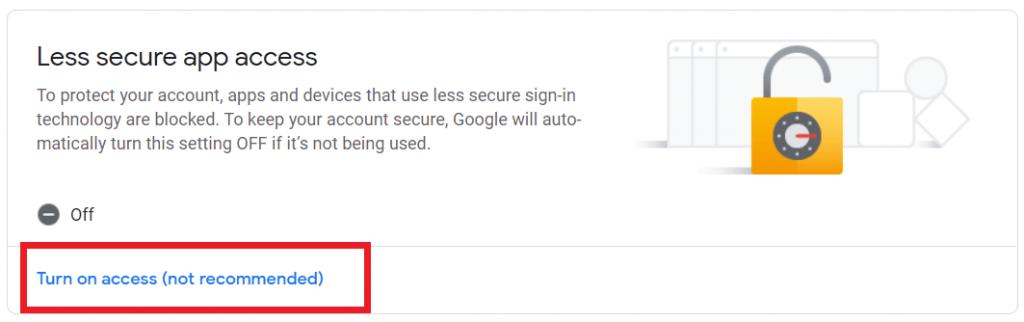 Aktifkan Less secure app access