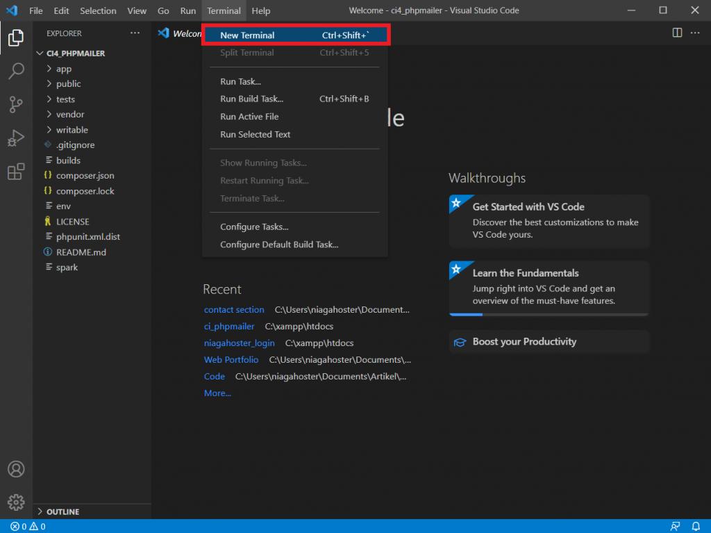 Membuka terminal di VS Code untuk install CodeIgniter PHPMailer