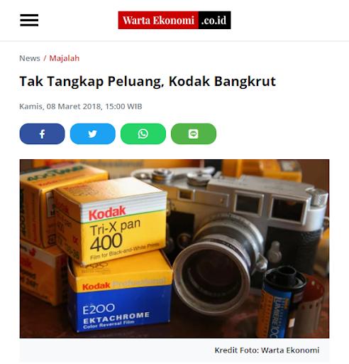 Faktor Kegagalan Wirausaha adalah Kurang siapnya Menghadapi Tantangan, seperti Kodak.