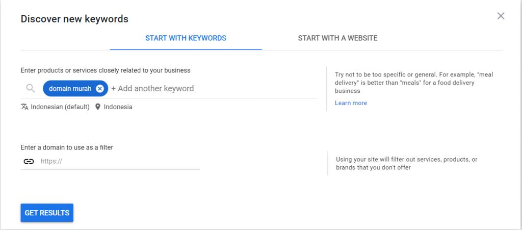 salah satu tools SEM adalah Google Keyword Planner