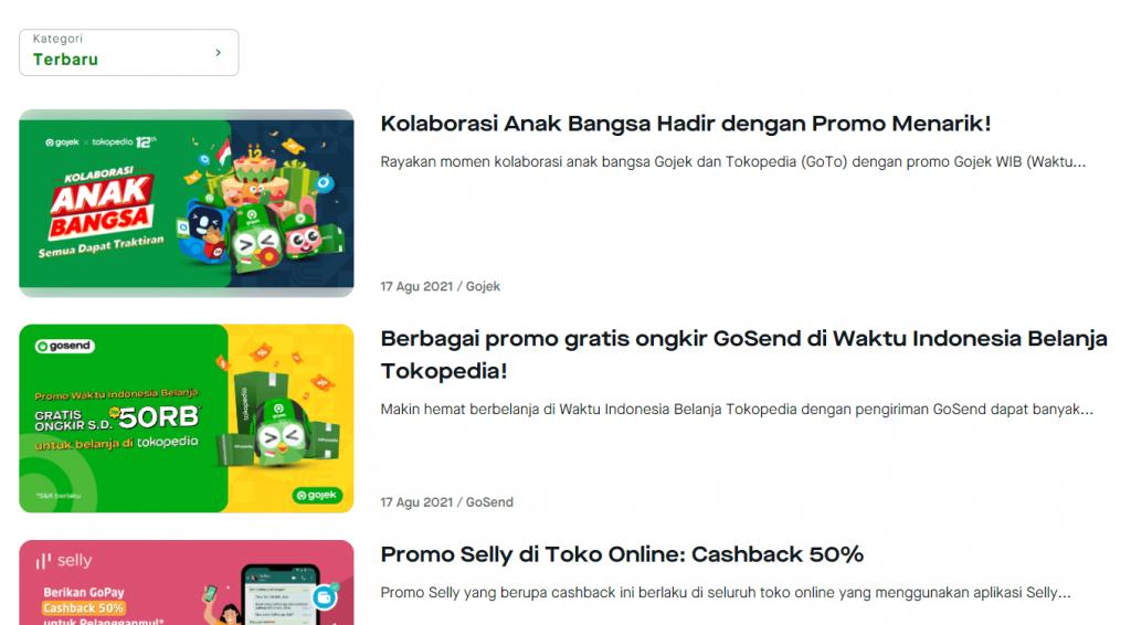 Blog Gojek menonjolkan konten promosi