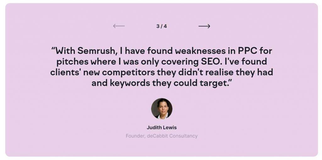 quotes testimonial semrush yang fokus pada kegunaan