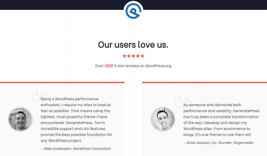 contoh peer testimonial Generatepress dari bidang WordPress