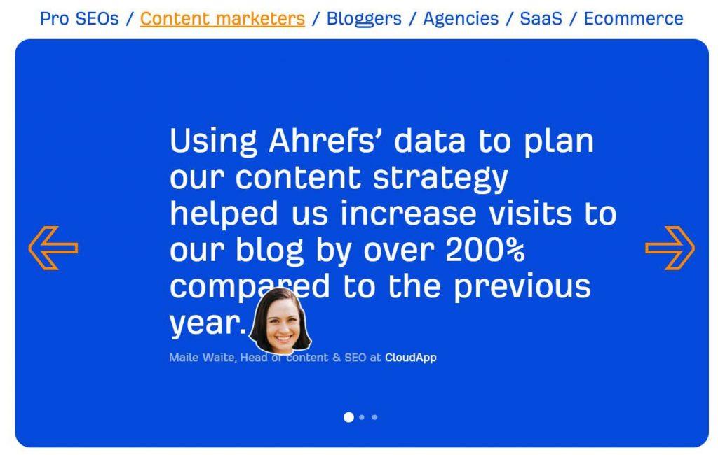 peer testimonial Ahrefs dari para ahli di bidang online marketing