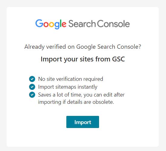 Import dari Google Search Console
