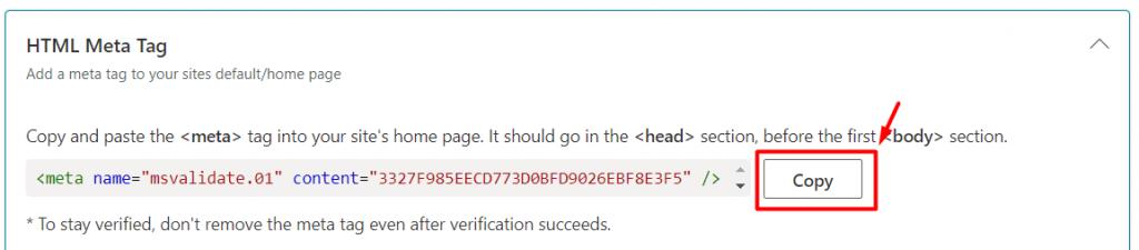 copy HTML Meta Tag
