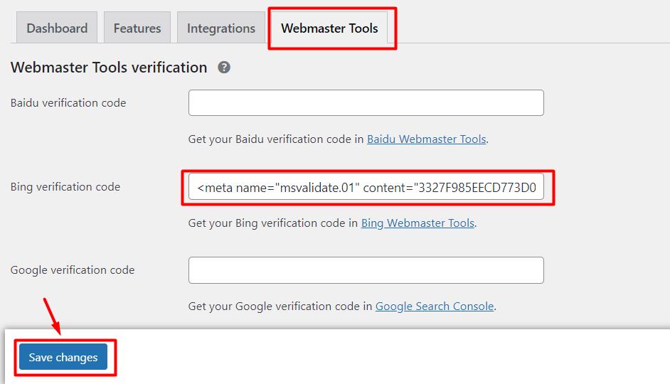 cara verifikasi Bing Webmaster dengan Meta Tag HTML