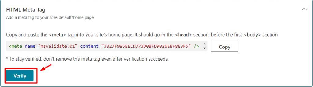 verify html meta tag