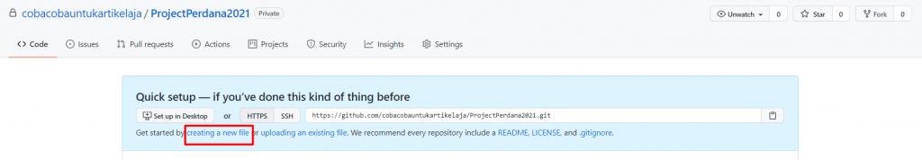 cara menggunakan github untuk membuat file kode baru