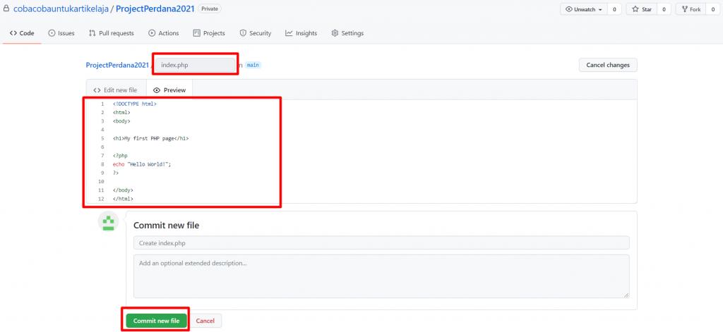langkah kedua cara menggunakan github untuk membuat file kode baru
