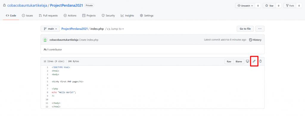 langkah pertama tutorial github untuk mengedit file kode